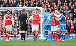 Arsenal's Laurent Koscielny looks on as Bournemouth's Harry Arter complains of a tackle during the Premier League match at the Emirates Stadium, London. Picture date October 26th, 2016 Pic David Klein/Sportimage