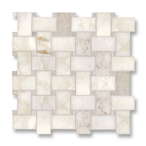 Basketweave shown in polished Cloud Nine and Paperwhite is part of New Ravenna's Studio Line of ready to ship mosaics.