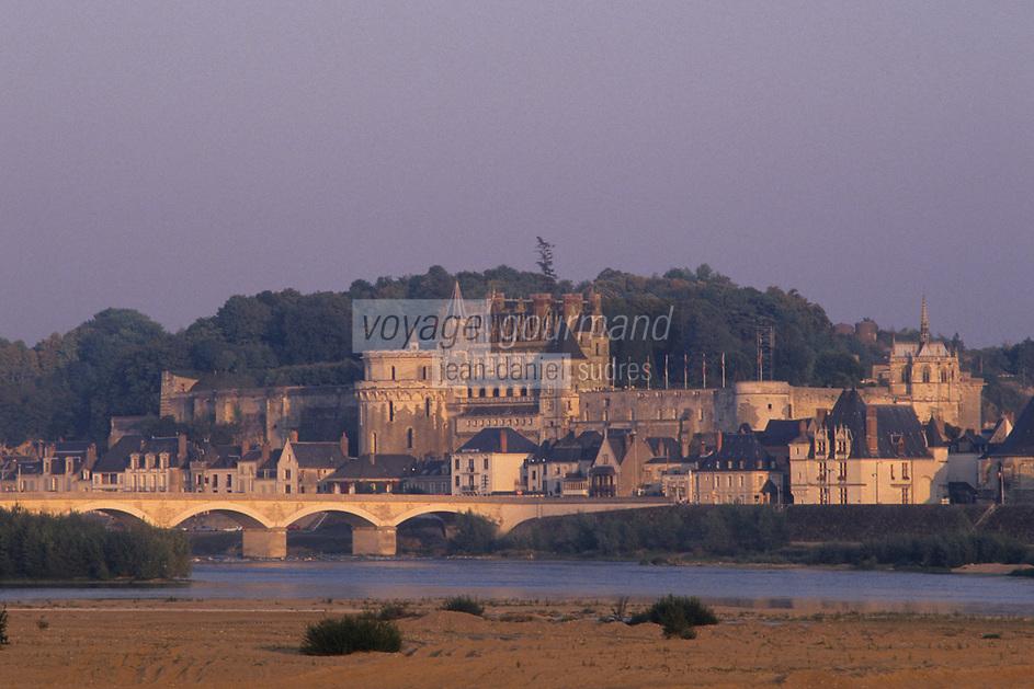 Europe/France/Centre/37/Indre-et-Loire/Amboise: Lumière du soir sur le château et la Loire
