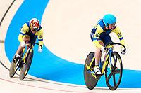 Picture by Alex Whitehead/SWpix.com - 10/12/2017 - Cycling - UCI Track Cycling World Cup Santiago - Velódromo de Peñalolén, Santiago, Chile - Ukraine's Liubov Basova and Olena Starikova compete in the Women's Team Sprint qualifying.