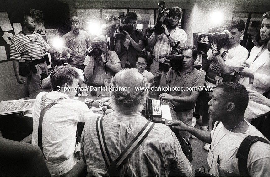 Editor Don Forst gives a press conference as he announces that the New York edition of Newsday will close. - 1995
