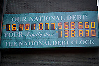The National Debt Clock in New York  showing the US debt as over $16 trillion is seen on Friday, January 18, 2013.  Real-estate mogul, the late Seymour Durst, created the clock on Feb. 20, 1989 to call attention to  Reaganomics. (© Richard B. Levine)