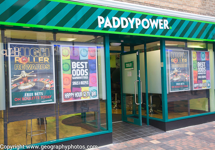 Paddypower betting shop in central business district of Swindon, England