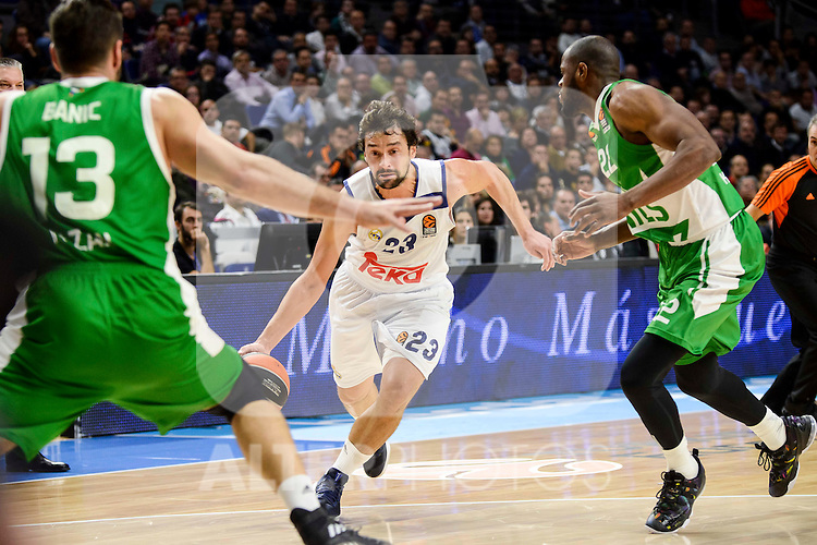 Real Madrid's player Sergio Llull and Unics Kazan's player Marko Basic and Latavious Williams during match of Turkish Airlines Euroleague at Barclaycard Center in Madrid. November 24, Spain. 2016. (ALTERPHOTOS/BorjaB.Hojas)