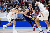 Sergio Llull and Gustavo Ayon of Real Madrid and Thomas Heurtel of FC Barcelona Lassa during Turkish Airlines Euroleague match between Real Madrid and FC Barcelona Lassa at Wizink Center in Madrid, Spain. December 13, 2018. (ALTERPHOTOS/Borja B.Hojas) /NortePhoto.com