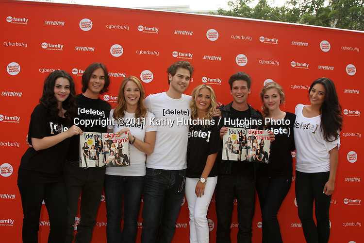 LOS ANGELES - JUL 14:  Vanessa Marano, Tyler Blackburn, Katie Leclerc, Grey Damon, Emily Osment, Daren Kagasoff, Skylar Samuels, Shay Mitchell arriving at the Delete Digital Drama Rally at Americana on July 14, 2011 in Glendale, CA