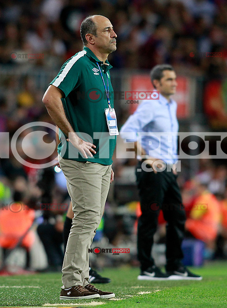 FC Barcelona's coach Ernesto Valverde (r) and Chapecoense's coach Vinicius Eutropio during Joan Gamper Trophy. August 7,2017. (ALTERPHOTOS/Acero) /NortePhoto.com