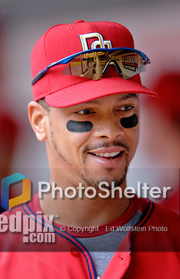 11 June 2006: Royce Clayton, infielder for the Washington Nationals, smiles in the dugout prior to a game against the Philadelphia Phillies at RFK Stadium, in Washington, DC. The Nationals shut out the visiting Phillies 6-0 to take the series three games to one...Mandatory Photo Credit: Ed Wolfstein Photo..