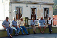 Spain, Canary Islands, La Palma, Tazacorte: locals sitting and talking