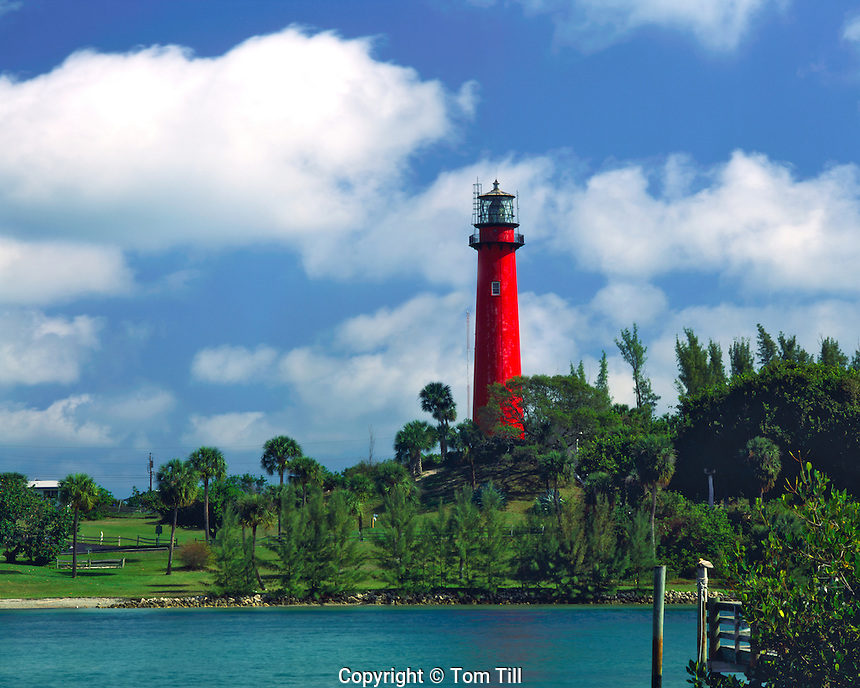 Spring Clouds over Jupiter Inlet Lighthouse, Built in 1855, Jupiter Island, Atlantic Coast Barrier Island, Florida
