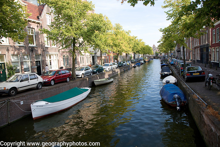 Boats on canal Haarlem Holland
