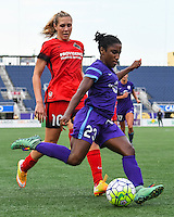 Orlando, FL - Sunday June 26, 2016: Allie Long, Jasmyne Spencer  during a regular season National Women's Soccer League (NWSL) match between the Orlando Pride and the Portland Thorns FC at Camping World Stadium.