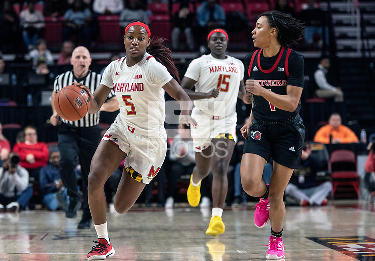 COLLEGE PARK, MD - FEBRUARY 9: Zipporah Broughton #1 of Rutgers moves in on Kaila Charles #5 of Maryland during a game between Rutgers and Maryland at Xfinity Center on February 9, 2020 in College Park, Maryland.