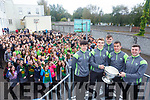 Kerry minors Dylan Casey, Diarmuid O'Connor Ryan O'Neill Ciaran O'Reilly and Fergal Barry visited Gaelcholáiste on Tuesday
