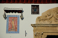 Mosaic of Christ on the exterior of Santa Isabel La Real convent in the old Islamic Quarter, Granada, Andalusia, Spain.