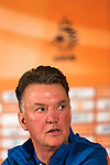 The Netherlands coach Louis van Gaal reacts during a news conference in Hoenderloo May 13, 2014. The Dutch National soccer team prepares for the World Cup 2014 in Brazil. REUTERS/Michael Kooren.