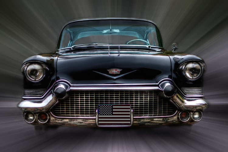 Manipulated front view image of classic US car Cadillac