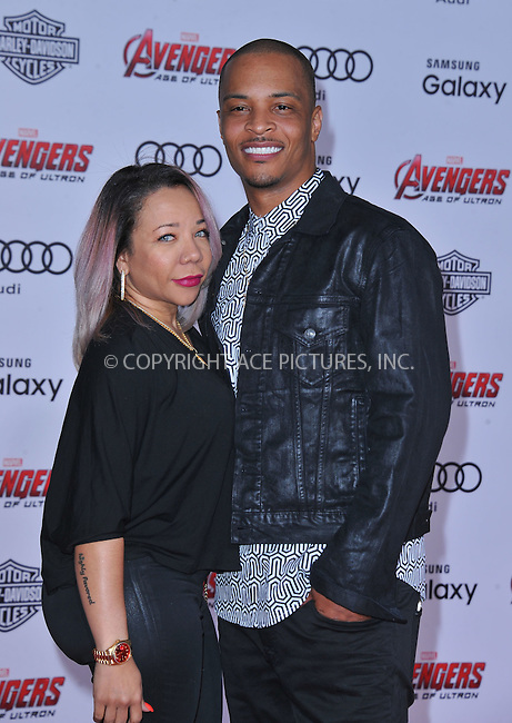 WWW.ACEPIXS.COM<br /> <br /> April 13 2015, LA<br /> <br /> Tiny and TI arriving at the Premiere Of Marvel's 'Avengers: Age Of Ultron' at the Dolby Theatre on April 13, 2015 in Hollywood, California.<br /> <br /> <br /> By Line: Peter West/ACE Pictures<br /> <br /> <br /> ACE Pictures, Inc.<br /> tel: 646 769 0430<br /> Email: info@acepixs.com<br /> www.acepixs.com