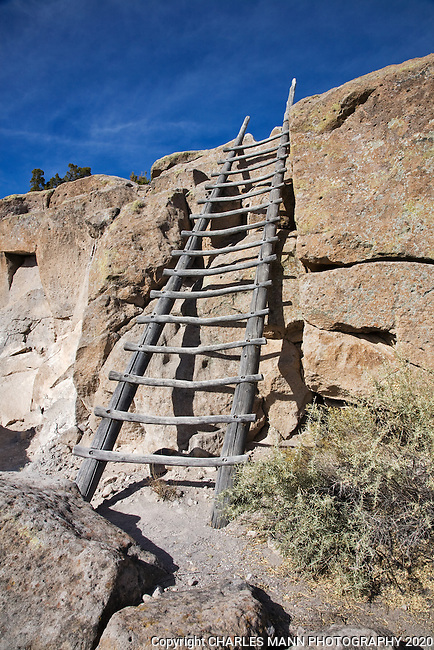 Hikers at Tsankawi, a popular part of Bandelier National Monument near Los Alamos, must negotiate a short ladder in two or three places along the trail.
