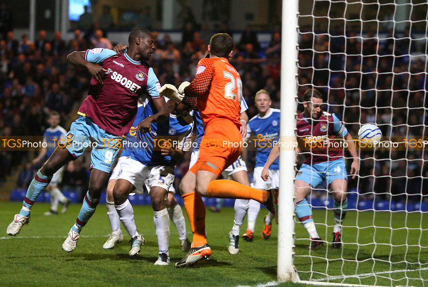 Ricardo Vaz Te's header drops into the goal for the 1st goal for West Ham - Peterborough United vs West Ham United, npower Championship at London Road, Peterborough - 27/03/12 - MANDATORY CREDIT: Rob Newell/TGSPHOTO - Self billing applies where appropriate - 0845 094 6026 - contact@tgsphoto.co.uk - NO UNPAID USE..