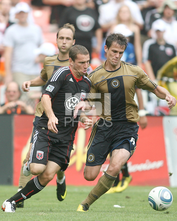 Kurt Morsink #6 of D.C. United presses up against Stefani Miglioranzi #6 of the Philadelphia Union during an MLS match at RFK Stadium on August 22 2010, in Washington DC. United won 2-0.