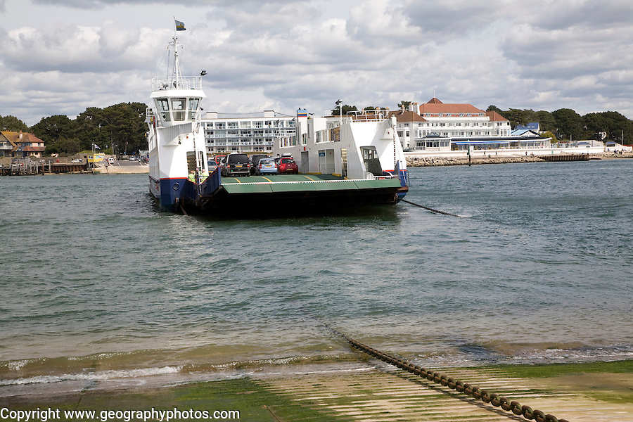 """Sandbanks chain ferry from Studland Poole Harbour England. The present ferry, """"Bramble Bush Bay"""", came into service in January 1994, it is the fourth ferry to operate this service since the Bournemouth-Swanage Motor Road and Ferry Company came into being in July 1923 following an Act of Parliament."""