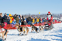 Musher Aliy Zirkle and dogteam at Restart of Iditarod 2012, Willow, Alaska, March 4, 2012
