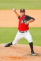 Kannapolis Intimidators relief pitcher Bryan Blough #35 in action against the Lexington Legends at CMC-Northeast Stadium on May 20, 2012 in Kannapolis, North Carolina.  The Legends defeated the Intimidators 7-1.  (Brian Westerholt/Four Seam Images)
