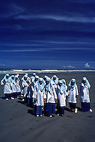 Brunei - Group of Muslim School Children on a Beach,