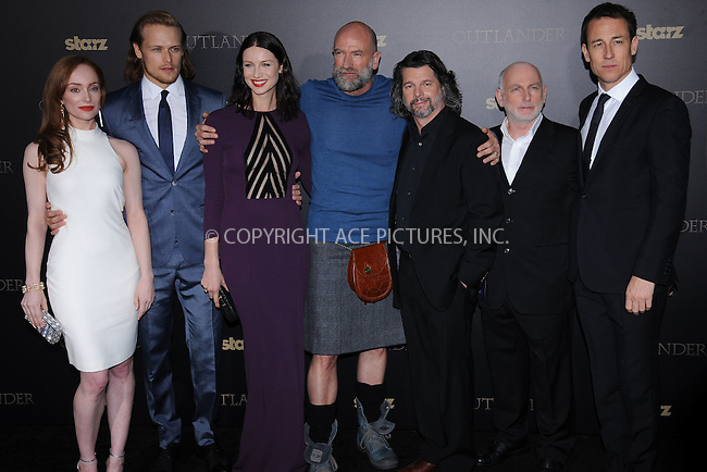 WWW.ACEPIXS.COM<br /> April 1, 2015 New York City<br /> <br /> Lotte Verbeek, Sam Heughan, Graham McTavish, Caitriona Balfe, Ronald D. Moore, Gary Lewis, and Tobias Menzies attending STARZ Original series &ldquo;Outlander&rdquo; celebration of &ldquo;Droughtlander&rdquo; at a special premiere screening  &ldquo;The Reckoning&rdquo;  at The Ziegfeld Theater on  April 1, 2015 in New York City.<br /> <br /> Please byline: Kristin Callahan/AcePictures<br /> <br /> ACEPIXS.COM<br /> <br /> Tel: (646) 769 0430<br /> e-mail: info@acepixs.com<br /> web: http://www.acepixs.com