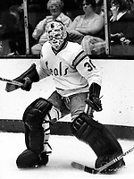 California Golden Seals goalie Gary Simmons..(1975<br />