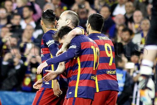 23.04.2016. Nou Camp, Barcelona, Spain. La Liga. Barcelona versus Sporting de Gijón. 3rd goal celebration