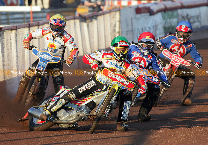 Heat 1 - Leigh Adams (green) ahead of Mikael Max (red), Paul Hurry and Mads Korneliussen - Arena Essex Hammers vs Swindon Robins - 12/07/06 - Sky Sports Elite League 'B' Fixture - (Gavin Ellis 2006)