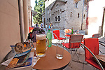 Croatia; Pula; old town; hot day of tourism in this ancient Roman town; pilsner beer; Istra Coast of Croatia; Adriatic Sea; Europe