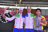 SCHAATSEN: BERLIJN: Sportforum, 08-12-2013, Essent ISU World Cup, podium 5000m Men Division A, Jan Blokhuijsen (NED), Jorrit Bergsma (NED), Seung-Hoon Lee (KOR), ©foto Martin de Jong