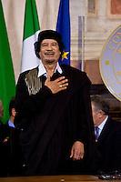 Libya's leader Muammar Gaddafi at Villa Madama in Rome June 10, 2009