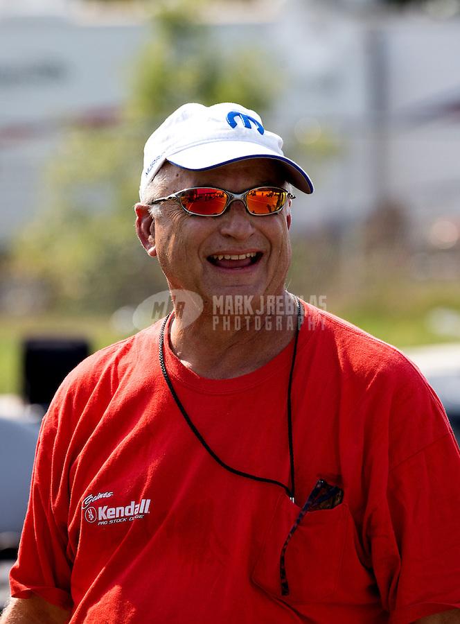 Aug. 18, 2013; Brainerd, MN, USA: NHRA pro stock driver V. Gaines during the Lucas Oil Nationals at Brainerd International Raceway. Mandatory Credit: Mark J. Rebilas-