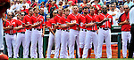 10 July 2011: The Washington Nationals honor America during the playing of the National Anthem prior to a game against the Colorado Rockies at Nationals Park in Washington, District of Columbia. The Nationals shut out the visiting Rockies 2-0 salvaging the last game their 3-game series at home prior to the All-Star break. Mandatory Credit: Ed Wolfstein Photo