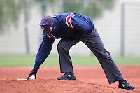 17 October 2010: Third base umpire Serge Makouchetchev is seen during Rouen 10-5 win over Savigny, during game 2 of the French championship finals, in Savigny sur Orge, France.