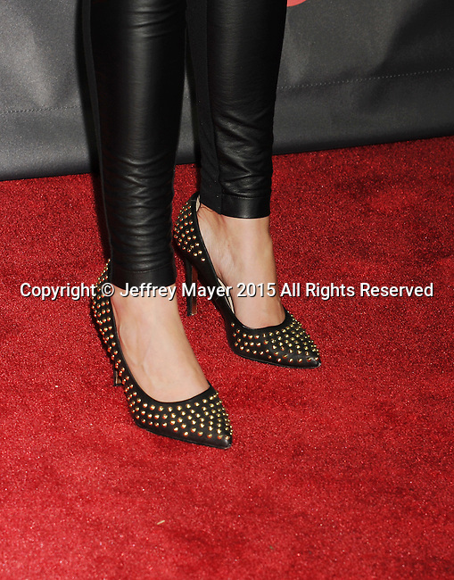 """LAS VEGAS, CA - APRIL 21: Actress Breanne Hill, shoe detail, at Warner Bros. Pictures Invites You to """"The Big Picture at The Colosseum at Caesars Palace during CinemaCon, the official convention of the National Association of Theatre Owners, on April 21, 2015 in Las Vegas, Nevada."""
