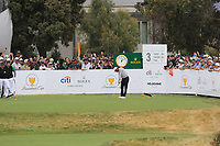 Tiger Woods (USA) on the 3rd tee during the Second Round - Foursomes of the Presidents Cup 2019, Royal Melbourne Golf Club, Melbourne, Victoria, Australia. 13/12/2019.<br /> Picture Thos Caffrey / Golffile.ie<br /> <br /> All photo usage must carry mandatory copyright credit (© Golffile | Thos Caffrey)