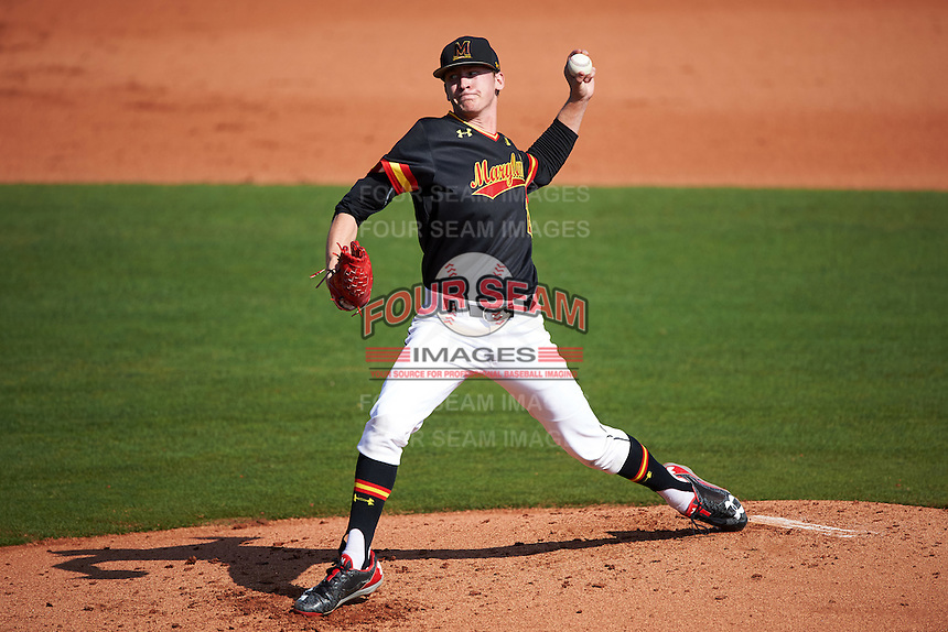 Maryland Terrapins starting pitcher Tyler Blohm (21) delivers a pitch during a game against the Alabama State Hornets on February 19, 2017 at Spectrum Field in Clearwater, Florida.  Maryland defeated Alabama State 9-7.  (Mike Janes/Four Seam Images)