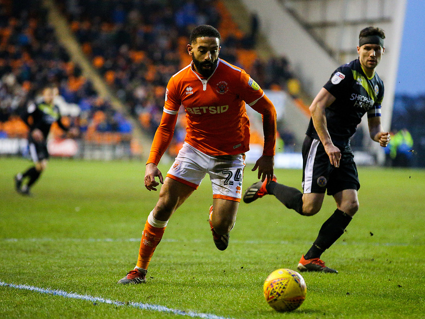 Blackpool's Liam Feeney chases a pass<br /> <br /> Photographer Alex Dodd/CameraSport<br /> <br /> The EFL Sky Bet League One - Blackpool v Shrewsbury Town - Saturday 19 January 2019 - Bloomfield Road - Blackpool<br /> <br /> World Copyright © 2019 CameraSport. All rights reserved. 43 Linden Ave. Countesthorpe. Leicester. England. LE8 5PG - Tel: +44 (0) 116 277 4147 - admin@camerasport.com - www.camerasport.com