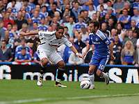 Pictured: Juan Mata of Chelsea (R) is marked by Ashley Williams of Swansea (L). Saturday 17 September 2011<br />