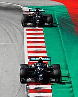5th July 2020; Red Bull Ring, Spielberg Austria; F1 Grand Prix of Austria, Race Day; 77 Valtteri Bottas FIN, Mercedes-AMG Petronas Formula One Team leads team mate 44 Lewis Hamilton GBR, Mercedes-AMG Petronas Formula One Team