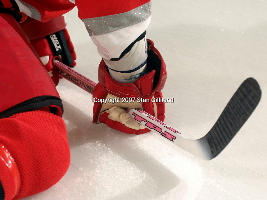 Several Carolina Hurricanes players used pink sticks to promote breast cancer awareness during a game with the New Jersey Devils Thursday, March 15, 2007 at the RBC Center in Raleigh, NC. The sticks were to be auctioned off later to benefit breast cancer research. New Jersey won 3-2.