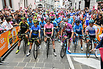 The leaders jerseys lines up before the start of Stage 15 of the 2018 Giro d'Italia, running 156km from Tolmezzo to Sappada, Italy. 20th May 2018.<br /> Picture: LaPresse/Gian Mattia D'Alberto | Cyclefile<br /> <br /> <br /> All photos usage must carry mandatory copyright credit (&copy; Cyclefile | LaPresse/Gian Mattia D'Alberto)