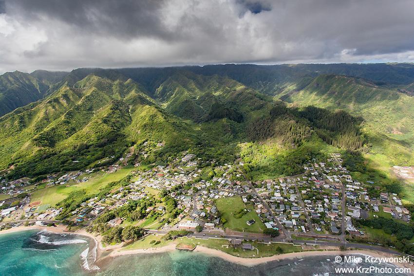 Aerial view of Hau'ula, Oahu