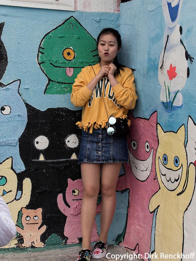 Wandbilder im Viertel Dongpirang, Tongyeong, Provinz Gyeongsangnam-do, S&uuml;dkorea, Asien<br /> murals in Dongpirang quarters, Tongyeong,  province Gyeongsangnam-do, South Korea, Asia