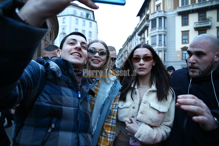 Gigi and Bella Hadid Models are leaving Alberta Ferretti event as part of the Milan Fashion Week FW 2018 2019, in Milan, Italy on the 21th February 2018